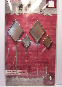 4-Diamond-Bezels-Hatpins-Stick-Pins-Fill-w-Beads-Resin-Ephemera-Paper-Glitter