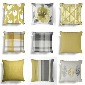 Amarillo-Ocre-Cushion-Covers-mostaza-Gris-18-034-17-034-Cubierta-Cojines-45cm-43cm