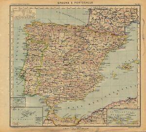 Cartina Spagna Antica.Carta Geografica Antica Spagna Portogallo Paravia 1941 Old Antique Map Ebay