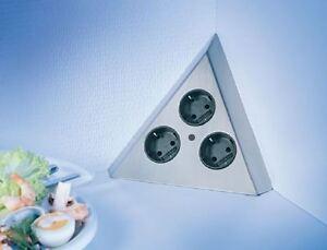 Thebo-Dreiecks-3fach-Steckdose-Edelstahl-Ecksteckdose-Dreiecks-Energiebox