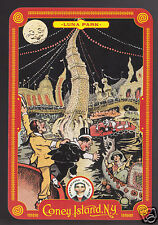 CONEY ISLAND NY Amusement Park MODERN POSTCARD Luna Park Vintage Ad Art Picture