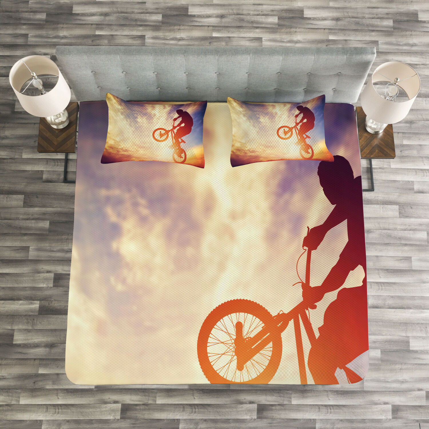 Modern Quilted Bedspread & Pillow Shams Set, Man on Bike Hazy Sun Print