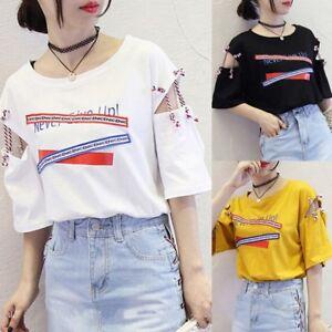 Ladies-Women-039-s-Short-Sleeve-Vest-Letter-Print-Bandage-Tank-Tops-Blouse-T-Shirt