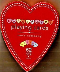 SweetNotes-Heart-Playing-Cards-Two-039-s-Company-52-Card-Dec-No-Jokers