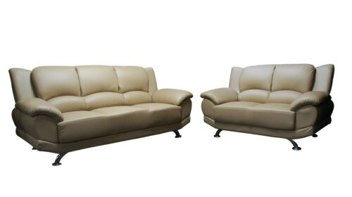 2pc Beige PVC Sectional Living Room Sofa Couch Loveseat Home Furniture Set #1080