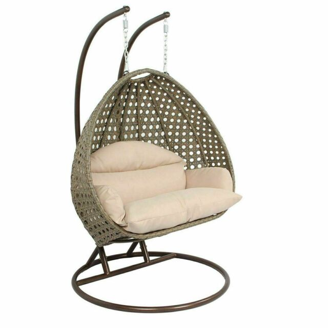 Mid Century Rattan Chair, Island Gale Luxury 2 Person Wicker Swing Chair With Stand And Cushion Outdoor By For Sale Online Ebay