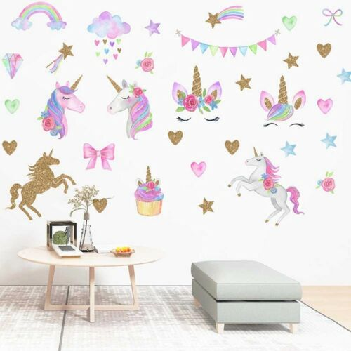 Unicorn Rainbow Cartoon Wall Sticker Girls Kids Living Room Bedroom Decal  Nice