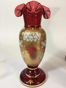 Egermann-Czech-Bohemian-Glass-Vase-Signed-LE-Raised-Enamel-Ruby-Red-11-034-Label
