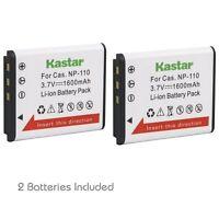 2x Kastar Battery For Casio Np-110 Np110 Exilim Ex-zr10 Ex-zr15 Ex-zr20