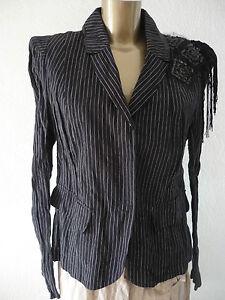 modern luxus designer jacke blazer schwarz wei gestreift m l 40 neu. Black Bedroom Furniture Sets. Home Design Ideas