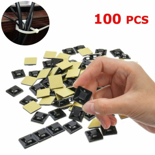 100Pcs 20mm Mounts Mounting Base Clamps Clip Self Adhesive Cable Wire Zip Tie FL