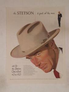 Magazine Ad* - 1950 - Stetson Men's Hats - The Open Road