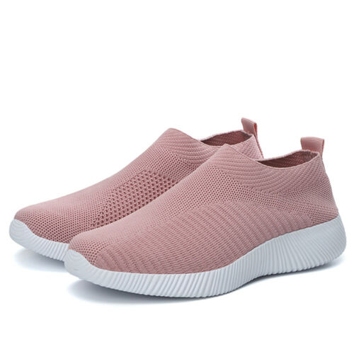 Sport Platform Leisure Flats Sneakers Knit Slip On Mesh Shoes Casual Running