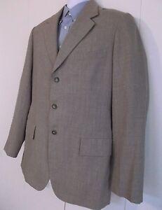 1980-039-s-Custom-Made-Hong-Kong-Linen-Blend-Khaki-Sport-Coat-Blazer-Mens-40-Retro