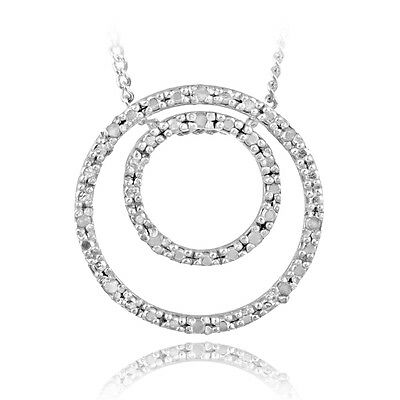 925 Sterling Silver 1/8ct Diamond Double Circle Necklace, IJ-I3