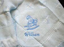 Personalised Deluxe Baby Shawl Blanket Blue Rocking Horse  Motif newborn, gift