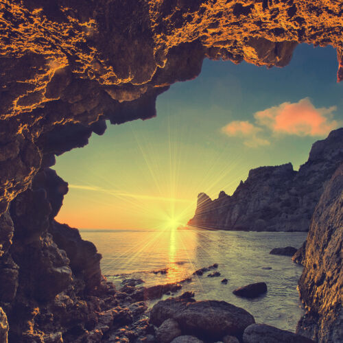Verre Splashback Cuisine Carrelage Cuisinière panneau toute taille de la Crimée Cliff Sunrise 0339