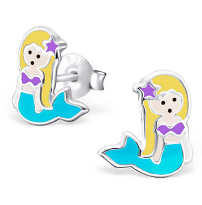 .925 Sterling Silver Little Mermaid Stud Earrings for Girls Nickel Free GIFT BOX