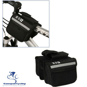 Bike-Cycling-Bicycle-Double-Pannier-Mountain-Frame-Front-Tube-Saddle-Bag-Black