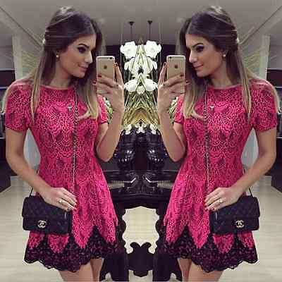 Sexy Women Casual Short Sleeve Lace Party Evening Cocktail Short Mini Dress
