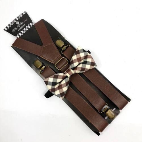 Plaid Pattern Bow Tie Brown Leather Suspender Tuxedo Wedding Accessories for Men