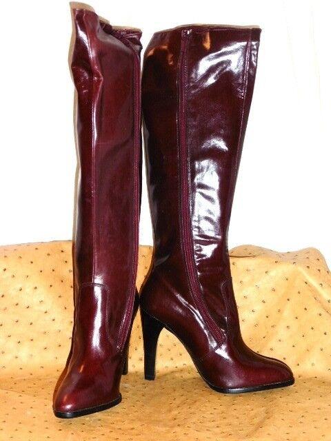 increíbles descuentos Magnífico Magnífico Magnífico botas Xavier Dale en Piel Burdeos Vintage 70 Nuevo T.37  nueva gama alta exclusiva