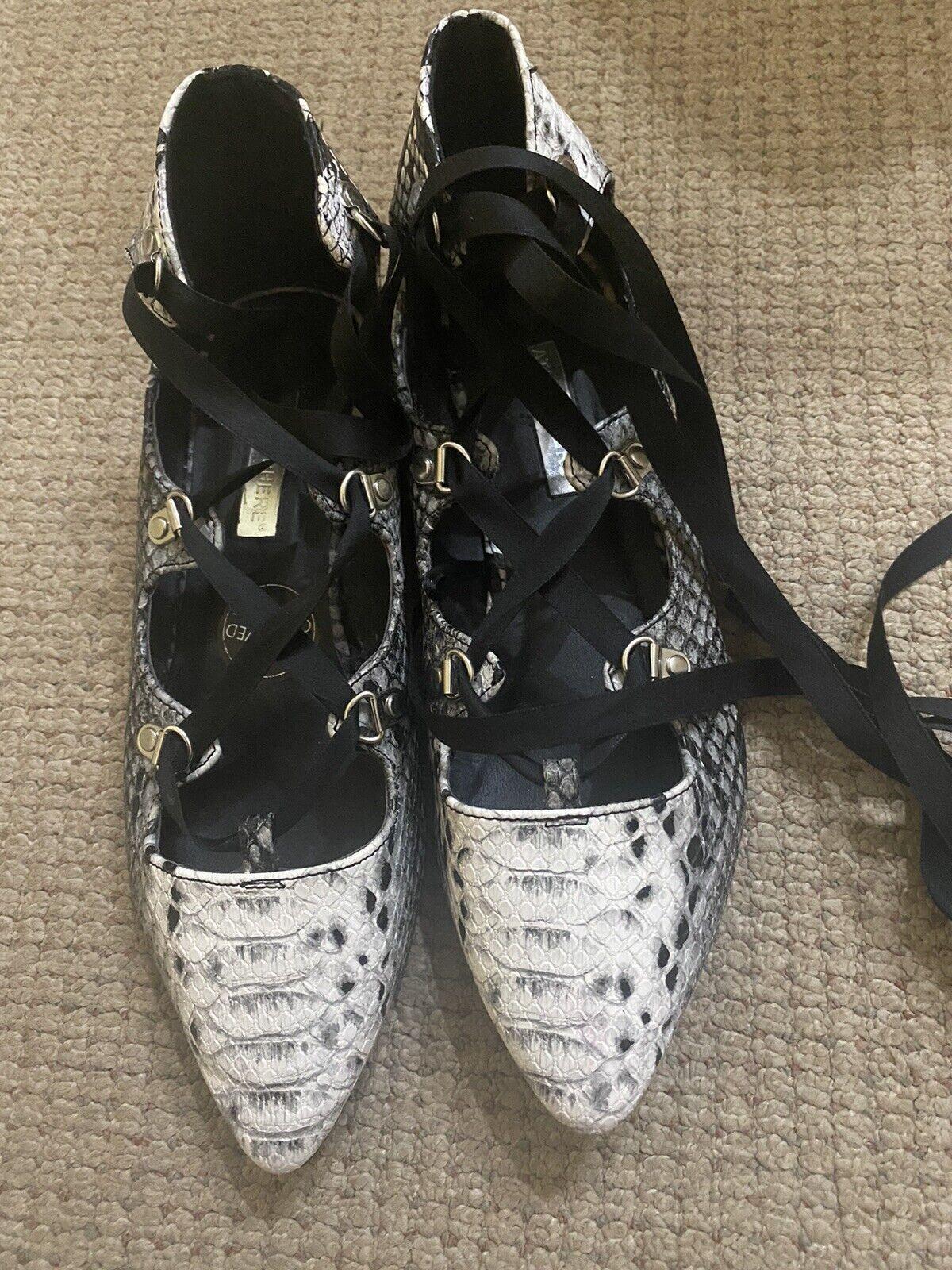 Atmosphere Lovely Snake Pattern White/Grey/Black Lace-up Shoes - UK 5