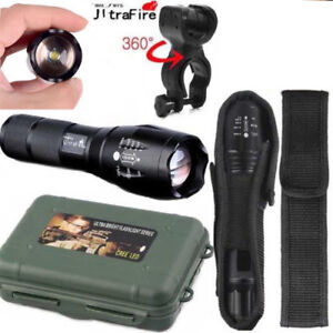 Ultrafire-Flashlight-50000LM-T6-LED-Light-Zoom-Tactical-18650-Torch-Holder-MEW