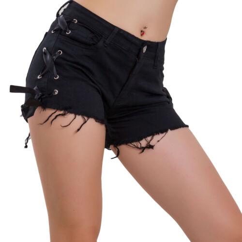 Short Femme Short Jeans Coloré Pin-Up Hotpants Bande Nœud Ruban M5657