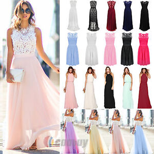 Image Is Loading Women Lace Long Dress Evening Party Gown Prom
