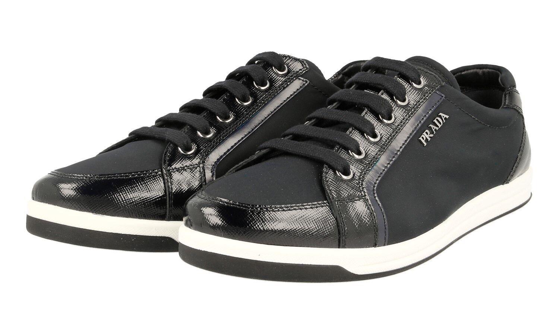 AUTHENTIC LUXURY PRADA SAFFIANO baskets chaussures 3E5892 bleu NEW US 6.5 EU 36,5 37