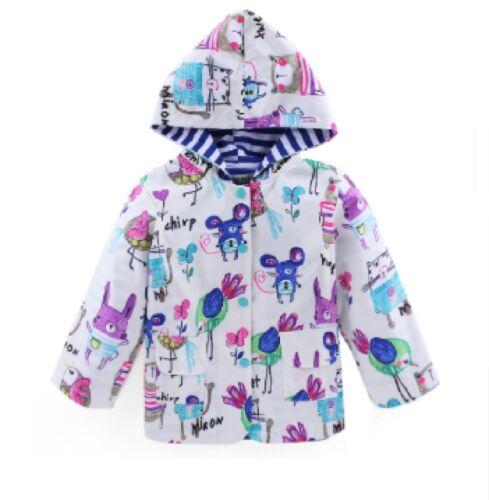 Girls Rain Coat Age 2 3 4 5 6 7 Jacket Character Hooded Mac Raincoat Size