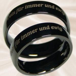 schwarze Diamantringe Eheringe Hochzeitsringe Verlobungsringe 7 mm mit Gravur