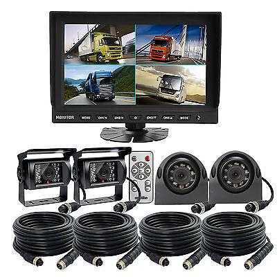 "9/"" Quad Monitor Split Screen Reversing 4 Camera IR CCD 4PIN Kit forTruck RV BUS"