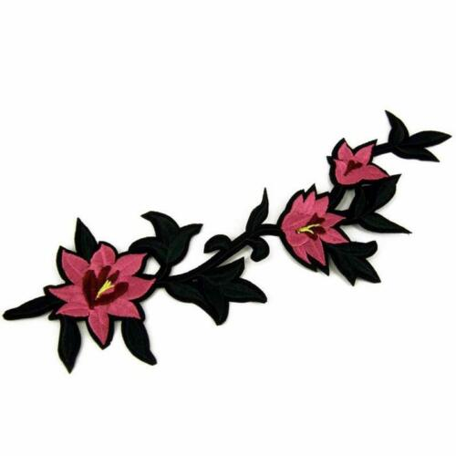 Sew// Iron Patch Badge Fabric Bag Clothes Applique Craft Transfer P90 Pink Flower