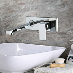 Chrome brass single handle tap wall mount bathroom sink waterfall faucet 55036 ebay for Wall mount bathroom faucet single handle