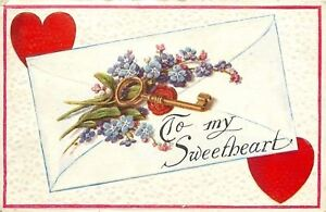 Valentine-Gold-Key-Red-Heart-Seal-Blue-Pink-Flowers-Envelope-Two-Red-Hearts-Emb