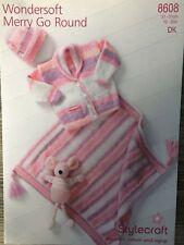"12-20/"" Stylecraft Knitting Pattern: Baby Cardigan 8608 DK Blanket /& Hat"