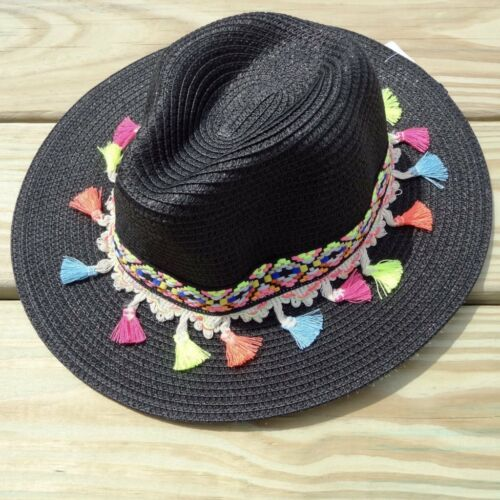 Black Multicolor Tassel Knitted Straw Beach Sun Hat