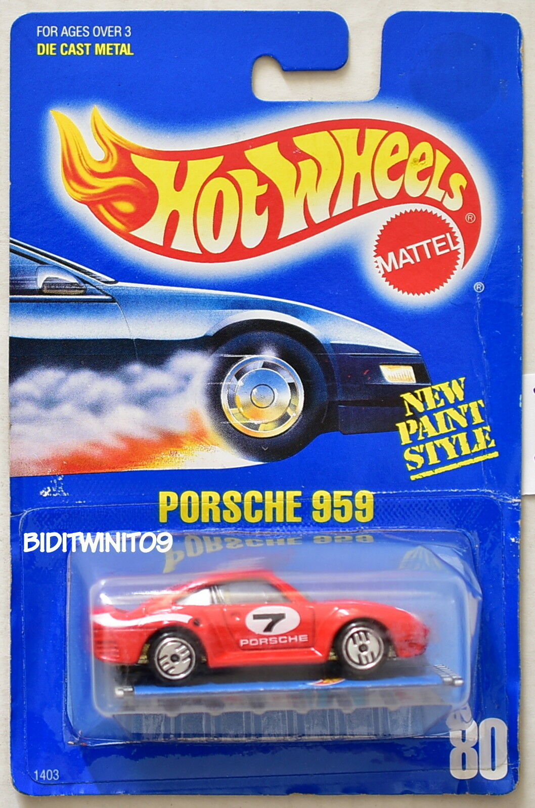 HOT WHEELS 1989 blueE CARD PORSCHE 959 RED W  PAMPHLET 23 W+