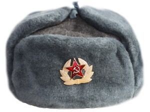 44688afde Details about Russian Soviet Army Hat USSR Badge Real Military Fur Soldiers  Ushanka 58 60 62