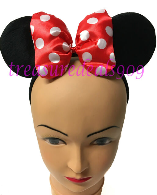 Minnie Mouse Ears Headband Puffy Red Polka Dot Bow Mickey Birthday Party  Favors 3140bb228ee