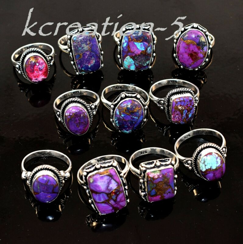 100 Pcs. Natural Purple Copper Turquoise Gemstone 925 Silver Plated Rings Lot