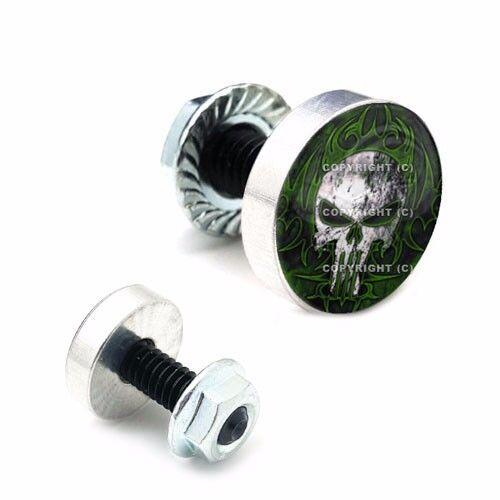 2 Polished Billet Aluminum License Plate Frame Tag Bolt Kit Green Skull PSG