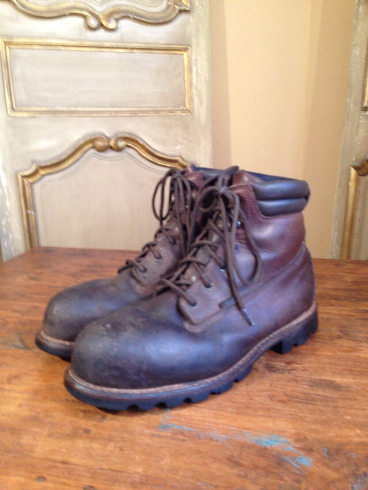 Vintage rot Wing Logging Engineering Hiking Stiefel Stiefel Stiefel Mens Größe  12 Wide Steel Toe 5f3117