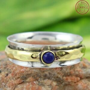 Lapis-Lazuli-Solid-925-Sterling-Silver-Spinner-Ring-Meditation-Ring-Size-Sr201