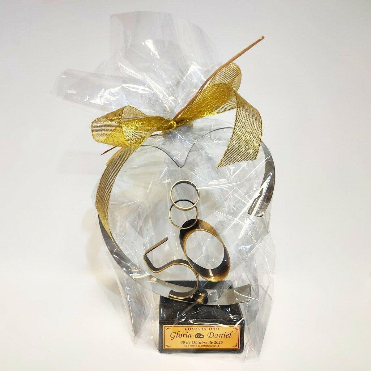 Aniversario - Bodas de Oro con anillos 18 cm
