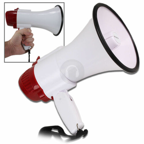 Megaphone Pistol Grip Loud Speaker Siren Hailer Mega Phone PA Music Play 200M N