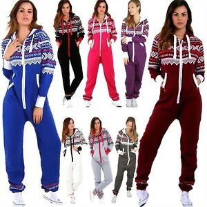 6496cc7ed77 Womens Aztec Jumpsuits Ladies Hooded Zip Up All In One Playsuit ...