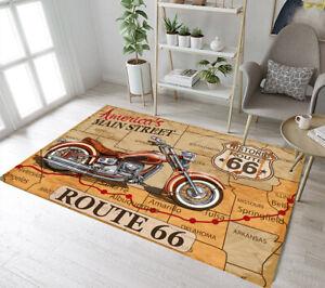 Details zu Motorcycle Historic Route 66 Floor Mat Area Rugs Bedroom Carpets  Livingroom Rug